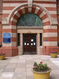 The entrance to the George Holt building